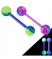 Double colored acrylic tongue barbell Thickness 1.6mm Length 16mm Ball 6mm