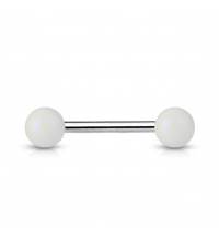 Straight barbell White pearls Thickenss 1.6mm Length 16mm Balls 6mm