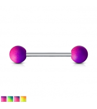 Straight barbell with Violet shades balls Thickness 1.6mm Length 16mm Balls 6mm