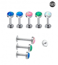 Internally threaded titanium labret with Opal 1.2 х 8mm