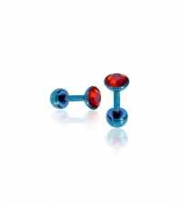 Blue earring with red crystal Thickness 1.2mm Length 6mm