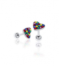 Earring Heart with colorful stones Thickness 1.2mm Length 7mm