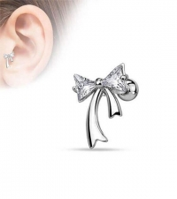 Bow earring with crystals  Thickness 1.2mm Length 6mm Diameter of a bow 4mm