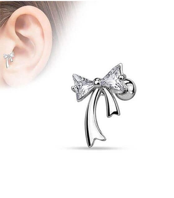 Bow Earring With Crystals Thickness 1 2mm Length 6mm Diameter Of A 4mm