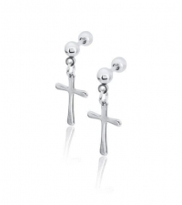 Earring with hanging cross Thickness 1.2mm Length 7mm