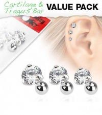 3 jewelry set with white crystals Thickness 1.2mm Length 6mm Ball diameter 4mm
