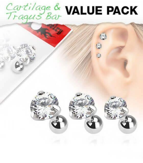 Trijų auskarų rinkinys su baltais kristalais Storis 1.2mm Ilgis 6mm Diametras užsukimo 4mm