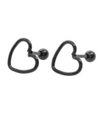 Earring Black heart Thickness 1.2mm Length 6mm