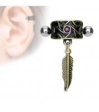 Jewelry for Ear cartilage helix Feather with violet stone Thickness 1.2mm Length 10mm Ball 3mm
