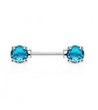 Nipple barbell with turquoise crystals Thickness 1.6mm Length 11mm Ball 5mm