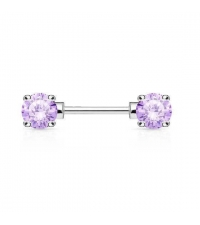 Nipple barbell Violet crystals Thickness 1.6mm Length 11mm Ball 5mm