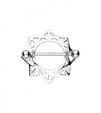 Nipple barbell Snowflake Width 1.6mm Length 16mm