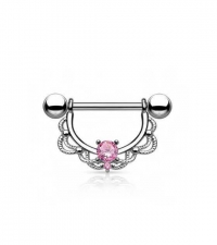 Nipple barbell with pink crystal Thickness 1.6mm Length 16mm