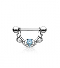 Nipple barbell with blue crystal Thickness 1.6mm Length 16mm