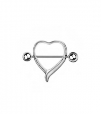 Nipple barbell Heart Thickness 1.6mm Length 14mm