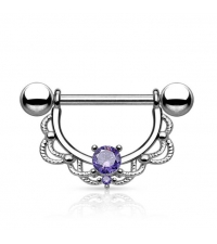 Nipple barbell with purple crystal Thickness 1.6mm Length 16mm