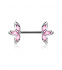 Nipple barbell Crystal flower Thickness 1.6mm Length 14mm