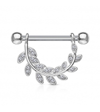 Nipple barbell Twig with crystals Thickness 1.6mm Length 19mm Ball 4mm