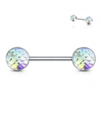 Nipple barbell Mermaid scales Thickness 1.6mm Length 14mm Balls 6mm