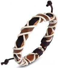 Bracelet bongo Brown white weave