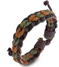 Bracelet bongo Brown-green color weave