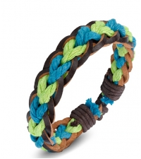 Bracelet bongo Light blue-green color weave