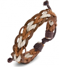Bracelet bongo Brown-beige color weave