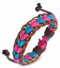 Bracelet bongo pink-light blue weave