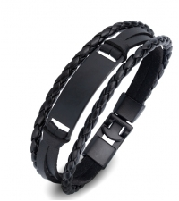 Black leather braided bracelet with black detail