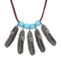 Necklace Feathers with blue beads