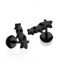 Juodas auskaras Trys žvaižgdės Storis 1.2mm Ilgis 7mm