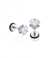 Earring with square white crystal Thickness 1.2mm Length 7mm