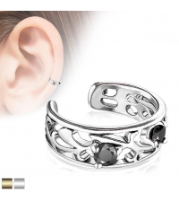 Netikras auskaras su juodu kristalu